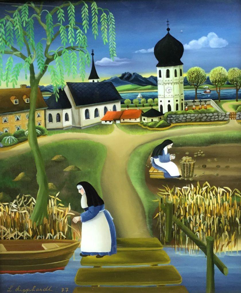 Schilderijen te koop van kunstschilder Lore Kipphardt Nonnen in de kloostertuin aan het werk olie op glas, 32 x 27 cm linksonder gesigneerd en gedateerd 77, Expositie Galerie Wijdemeren Breukeleveen