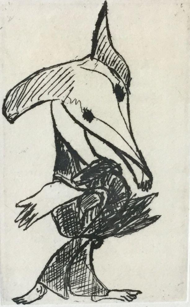 schilderijen te koop Steenbok, ets, beeldmaat 13 x 8 cm gesigneerd, expositie, galerie wijdemeren breukeleveen