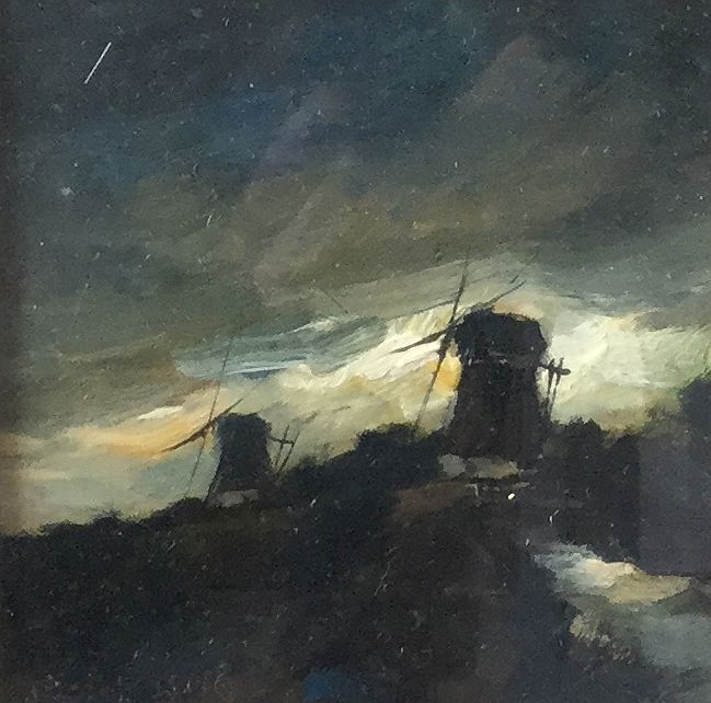 schilderijen te koop van kunstschilder, Toon Koster Dijkgezicht met molens marouflé, beeldmaat 12 x 12 cm, expositie, galerie wijdemeren breukeleveen