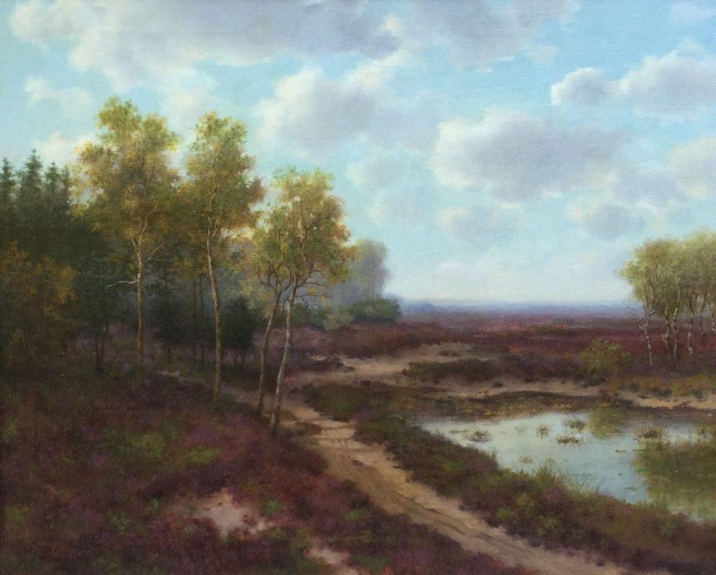Schilderijen te koop van kunstschilderG.F. Teyssen Heidegezicht olie op doek, doekmaat 40 x 50 cm linksonder gesigneerd, Expositie Galerie Wijdemeren Breukeleveen