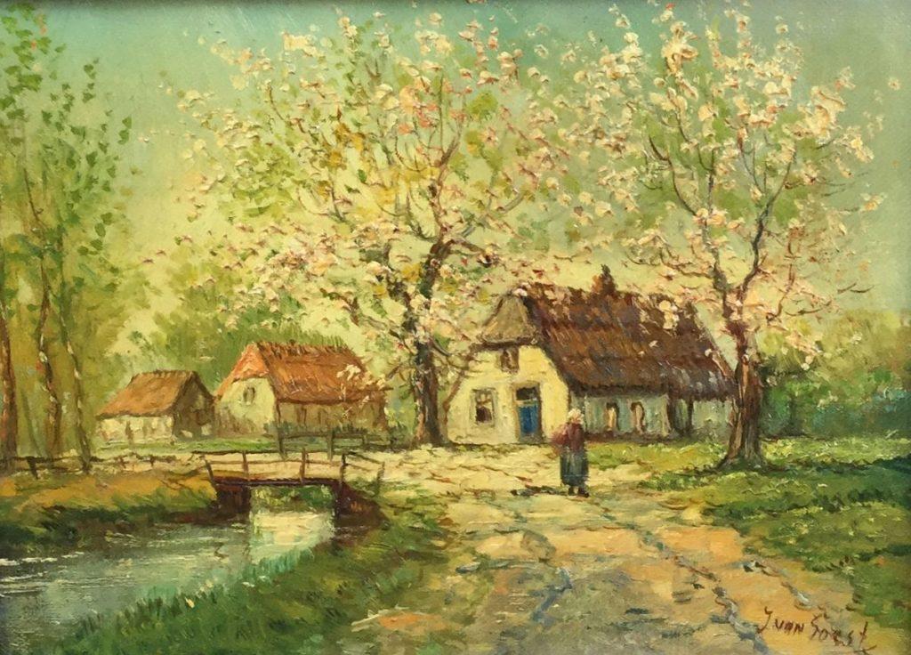 schilderijen te koop , Boerderij met bloesembomen olie op doek, doekmaat 18.5 x 24 cm rechtsonder gesigneerd J. van Soest, expositie, galerie wijdemeren breukeleveen