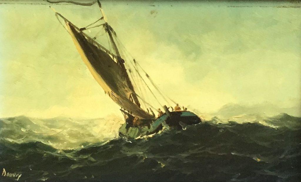 schilderijen te koop van kunstschilder, Zeilschip op woeste zee olie op paneel, paneelmaat 12.5 x 20 cm rechtsonder gesigneerd, expositie, galerie wijdemeren breukeleveen
