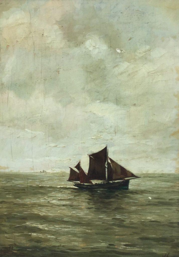 schilderijen te koop Schip op zee olie op paneel, beeldmaat 25.5 x 18 cm rechtsonder gemonogrammeerd, expositie, galerie wijdemeren breukeleveen