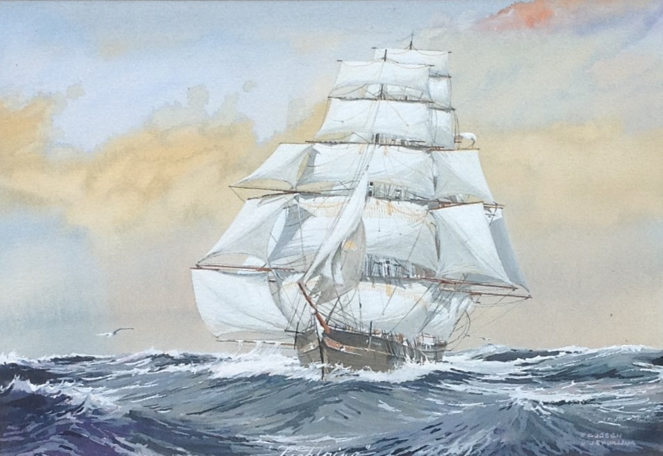 Kunstenaar Frits J. Goosen C485, F.J. Goosen Klipper naar Jack Spurling aquarel, beeldmaat 15 x 21 cm r.o. gesigneerd particuliere collectie