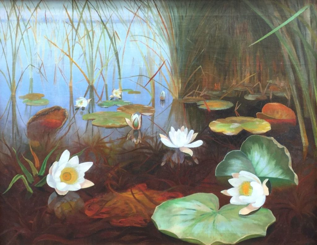 Schilderijen te koop van kunstschilder Dirk Smorenberg, Waterlelies in de plas, Expositie Galerie Wijdemeren Breukeleveen