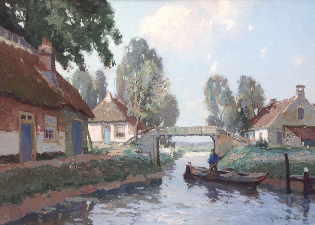 Schilderijen te koop van kunstschilder G.J. Delfgaauw Boer in praam, Giethoorn olieverf op doek, doekmaat 50 x 70 cm rechtsonder gesigneerd, Expositie Galerie Wijdemeren Breukeleveen