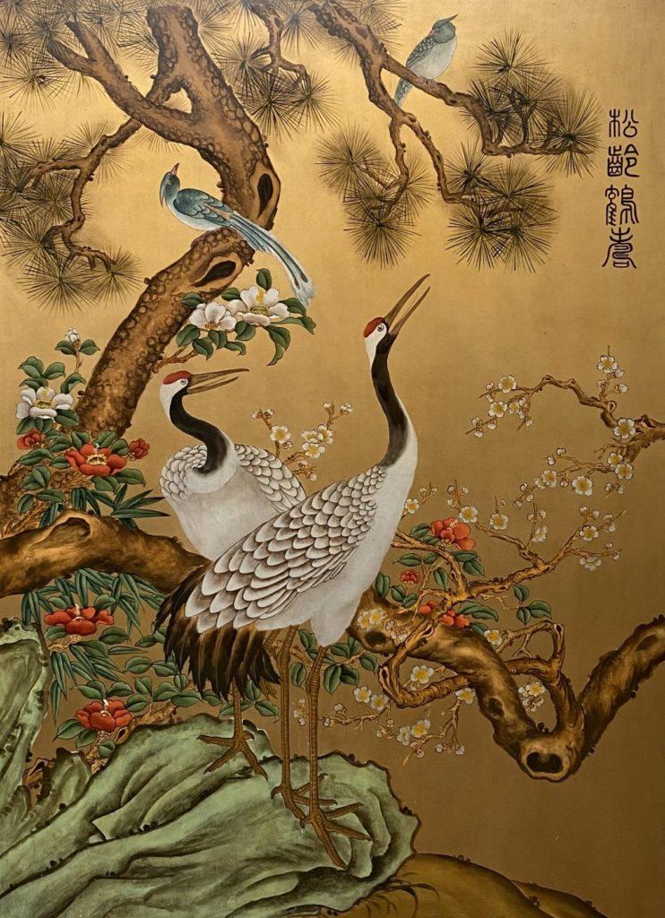 Schilderijen te koop Kraanvogels Schildering op paneel met bladgoud, 115 x 85 cm inscriptie rechtsboven, Expositie Galerie Wijdemeren Breukeleveen