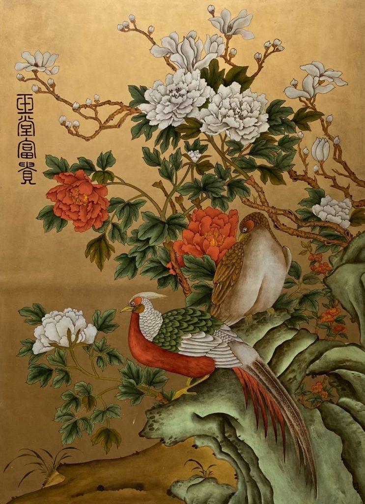 Schilderijen te koop Vogels met bloesem Schildering op paneel met bladgoud, 115 x 85 cm inscriptie linksboven, Expositie Galerie Wijdemeren Breukeleveen