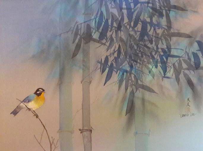 Schilderijen te koop van kunstschilder David Lee Vogeltje met bamboe aquarel op zijde, 59 x 120 cm r.o. gesigneerd, Expositie Galerie Wijdemeren Breukeleveen