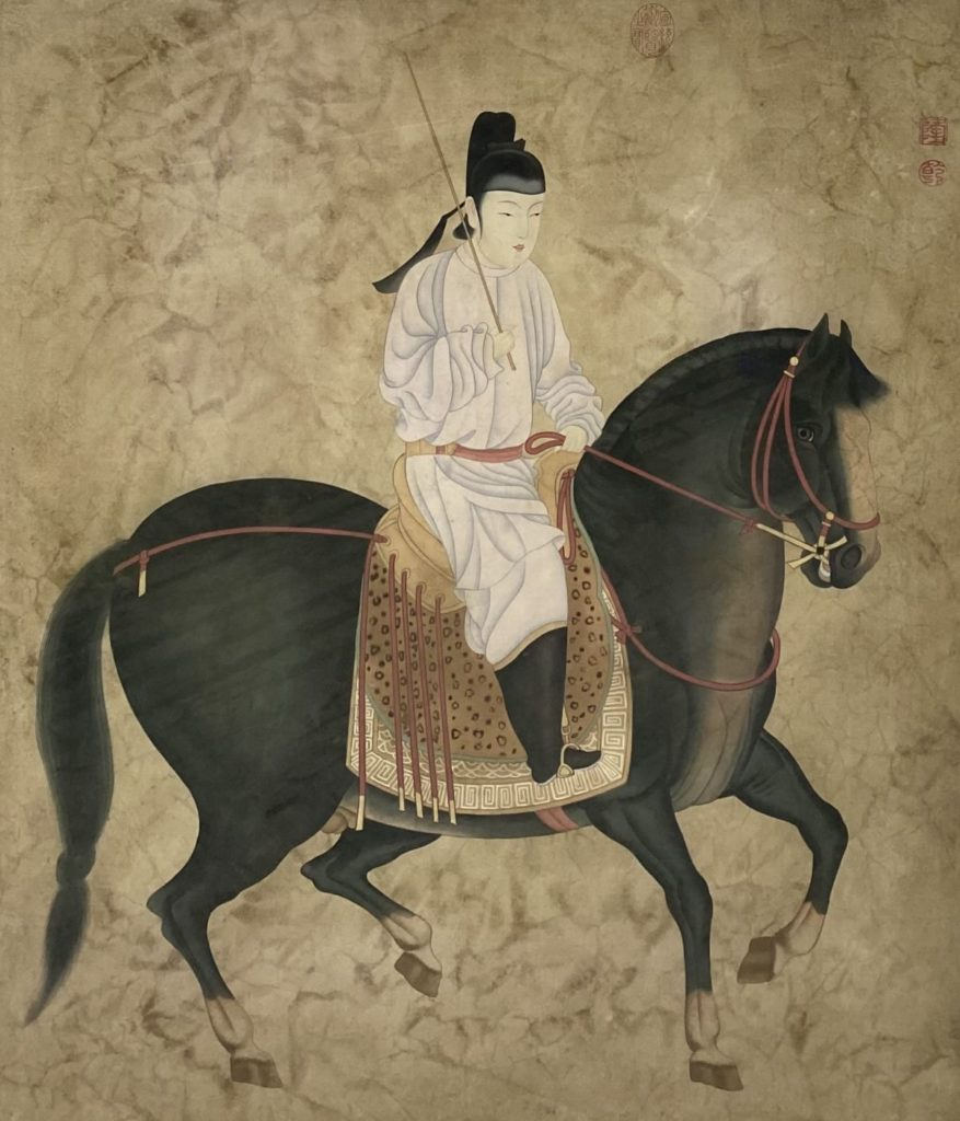 Kunst te koop bij Galerie Wijdemeren van Chinese kunstenaar Ruiter Inkt en aquarel op zijde, 90 x 75,5 cm rechtsboven gestempeld