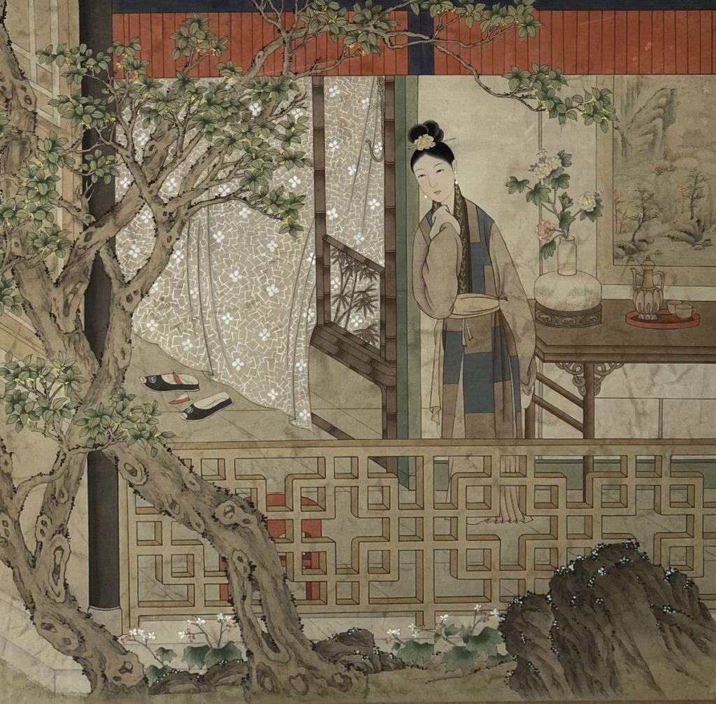 Schilderijen te koop van kunstschilder Onbekende kunstenaar (Chinees) Dame op de veranda op zijde, 81 x 81 cm, Expositie Galerie Wijdemeren Breukeleveen