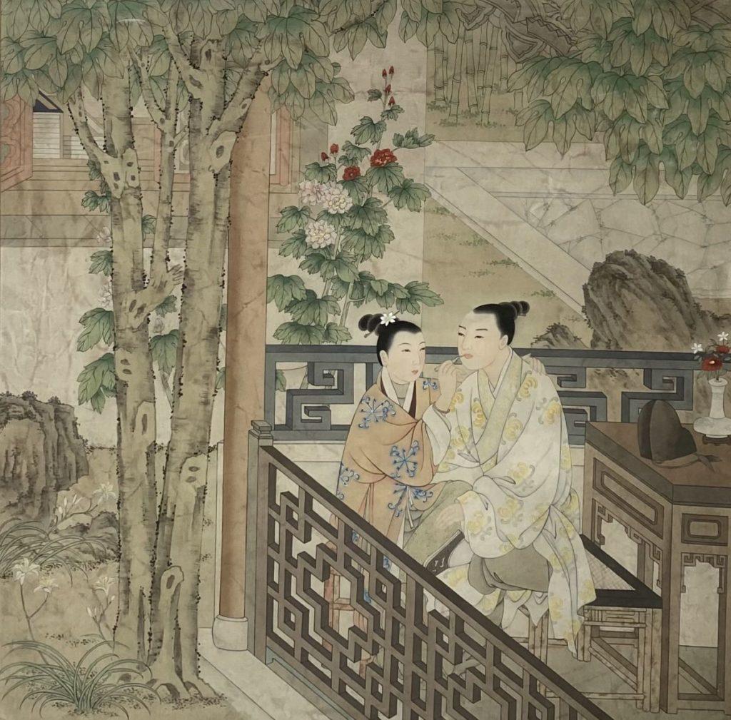 Schilderijen te koop van kunstschilder Onbekende kunstenaar (Chinees) Dames in de tuin op zijde, 81 x 81 cm, Expositie Galerie Wijdemeren Breukeleveen