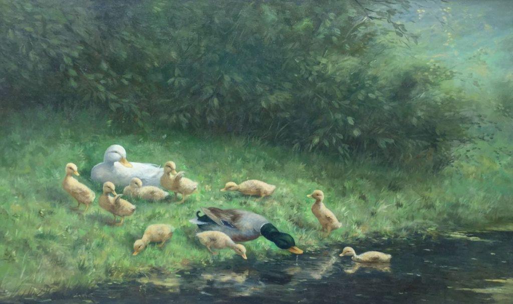 Kunst te koop bij Galerie Wijdemeren, Constant Artz Eenden aan de waterkant olie op doek, 100 x 60 cm linksonder gesigneerd