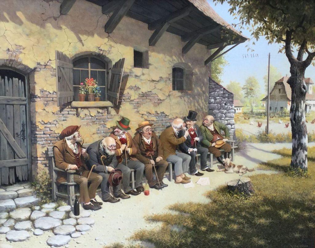 Kunst te koop bij Galerie Wijdemeren Breukeleveen, exposities, Vida Gabor, Het gesprek, olie op multiplex, paneelmaat 50 x 40 cm, rechtsonder gesigneerd