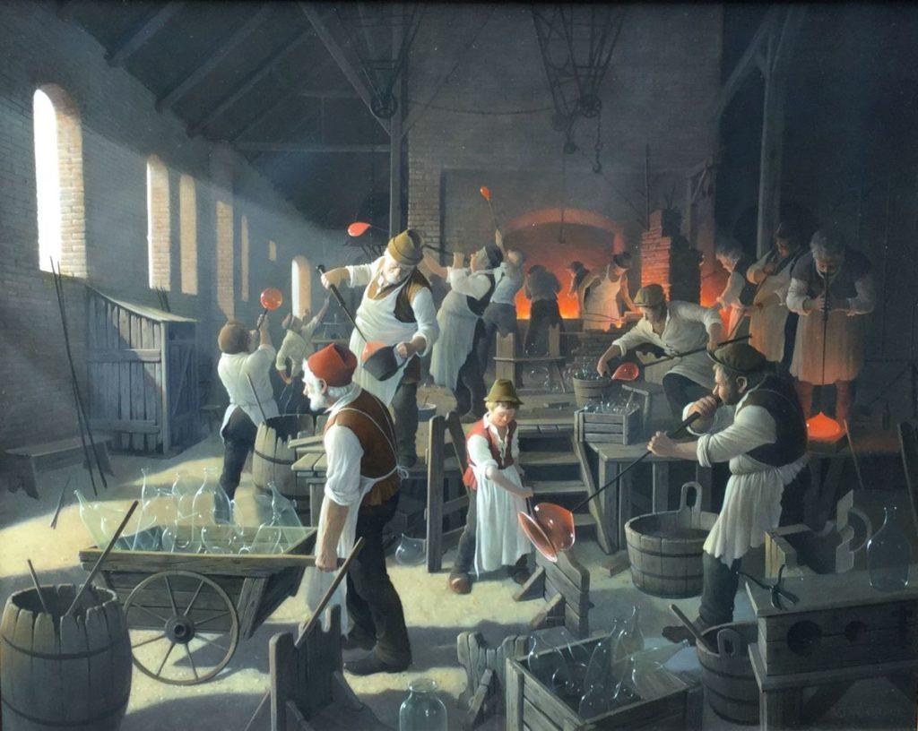 Kunst te koop bij Galerie Wijdemeren, Breukeleveen, Vida Gabor, De glasblazerij, olie op multiplex, rechtsonder gesigneerd, paneelmaat 50 x 40 cm, periode 1937-2007