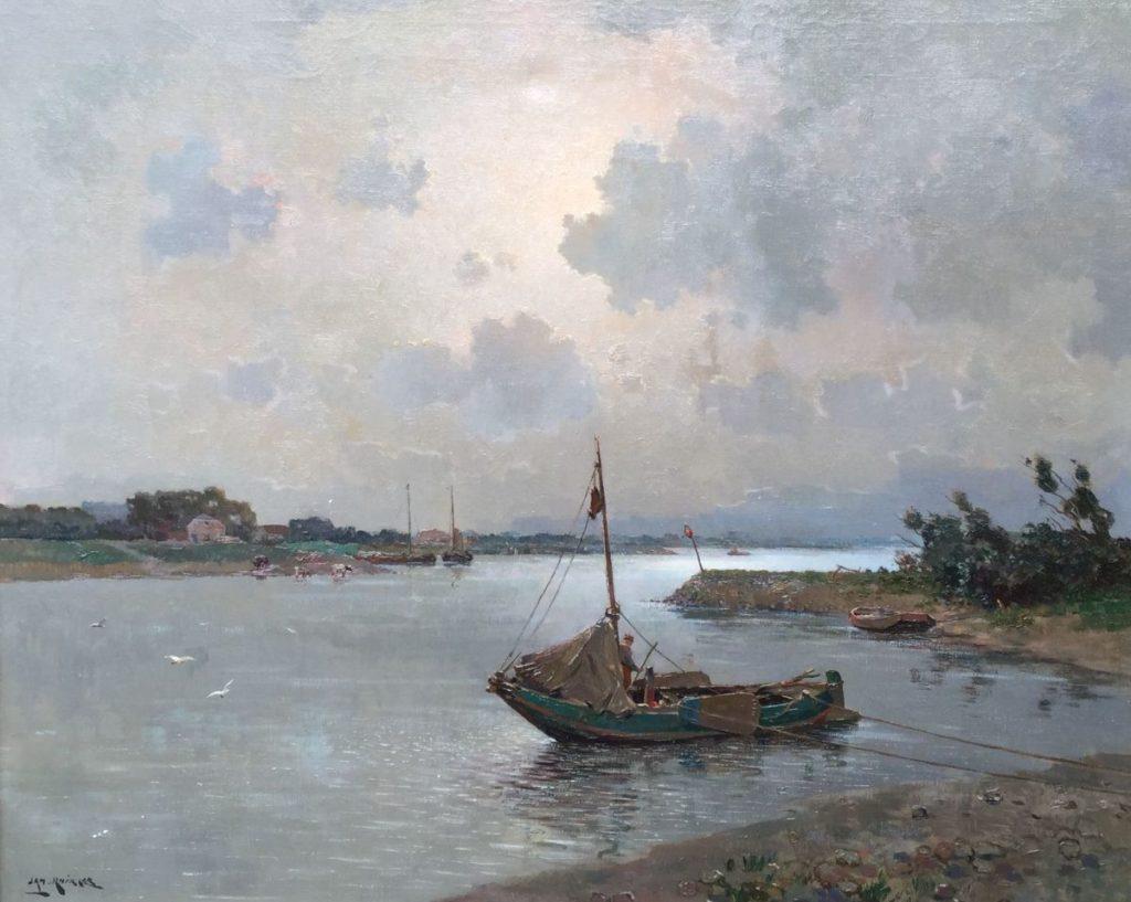 """Kunst te koop bij Galerie Wijdemeren, breukeleveen, Jan Knikker sr., Riviergezicht """"De zalmvisser"""", olie op doek, linksonder gesigneerd, doekmaat 100 x 80 cm"""