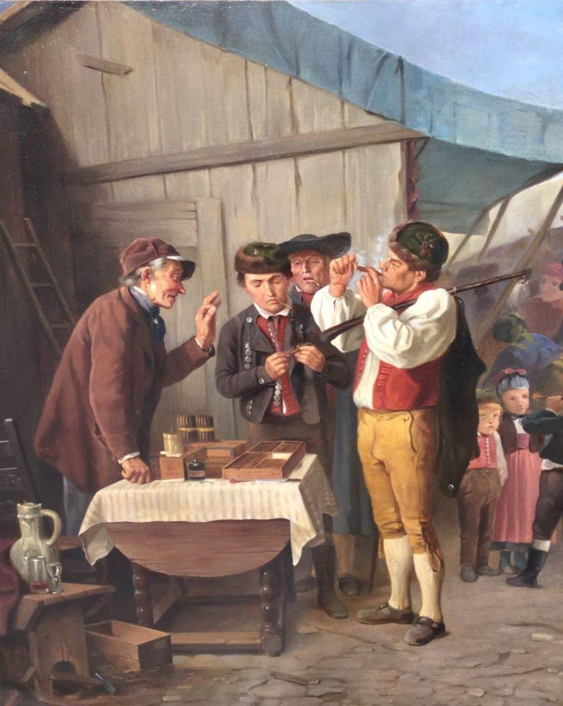Schilderijen te koop, Romantiek, 19de eeuw, Rookgenot olie op doek, doekmaat 61 x 76 cm 19e eeuw, Expositie Galerie Wijdemeren Breukeleveen
