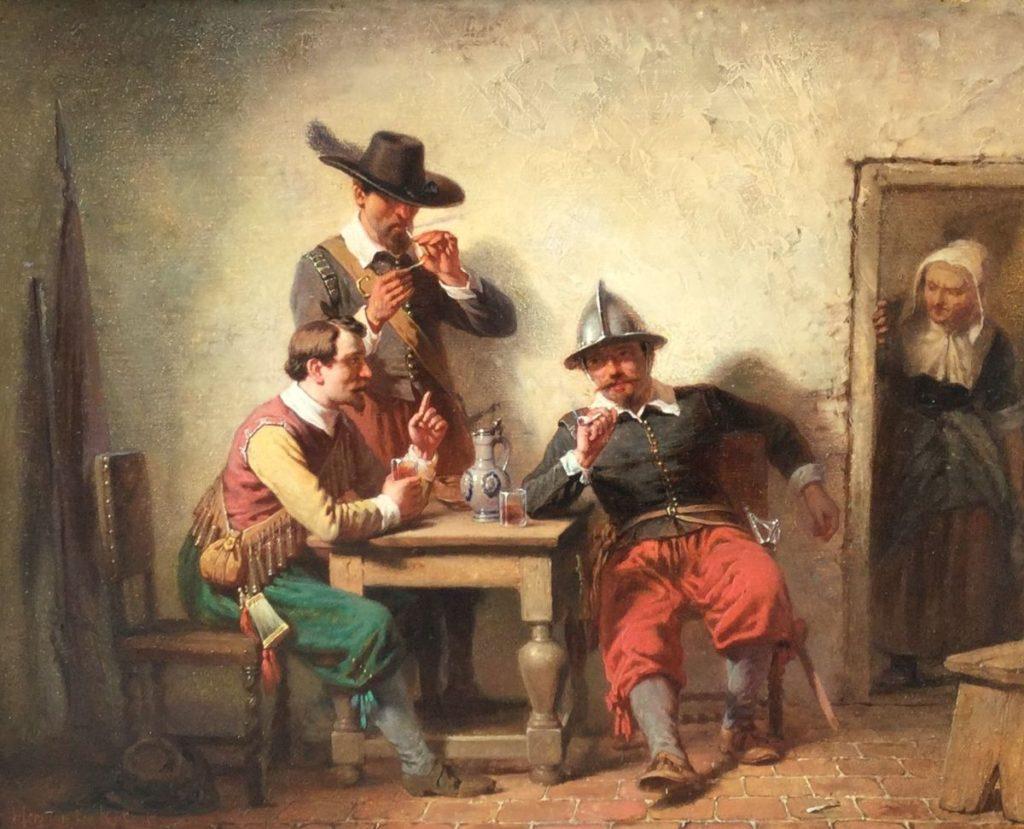 Kunst te koop bij Galerie Wijdemeren, Herman ten Kate jr. Soldaten aan tafel, olie op mahoniehouten paneel, paneelmaat 32 x 25.5 cm, linksonder gesigneerd