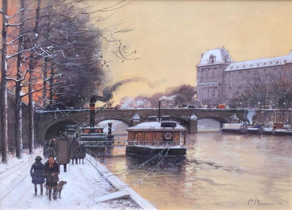 Kunst te koop bij Galerie Wijdemeren, Paul Renard, Langs de Seine, gouache op papier, rechtsonder gesigneerd, beeldmaat 43 x 60 cm, periode 1941-1997