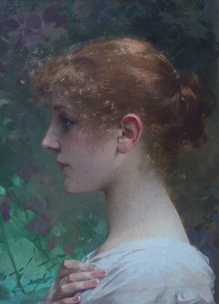 Kunst te koop bij Galerie Wijdemeren Breukeleveen, Georg Sturm, Meisjesportret, olie op doek, linksonder gesigneerd, doekmaat 48 x 35 cm, periode 1855-1923