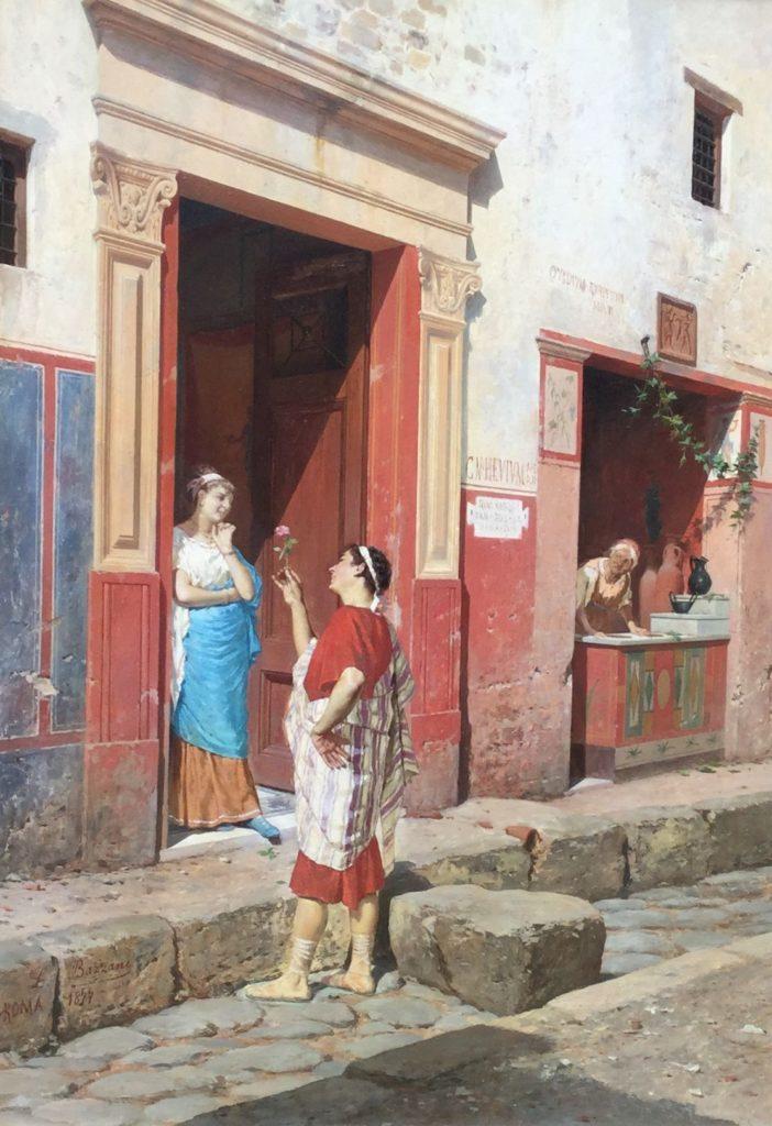 Schilderijen te koop bij Galerie Wijdemeren, Luigi Bassani Romeins straattafereel - Het aanzoek olie op doek, 32 x 45 cm linksonder gesigneerd