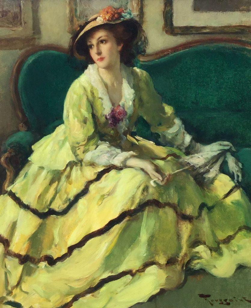 Kunst te koop bij Galerie Wijdemeren, Fernand Toussaint, La robe jaune, olie op kartonnne schilderspaneel, rechtsonder gesigneerd, paneelmaat 55 x 45 cm