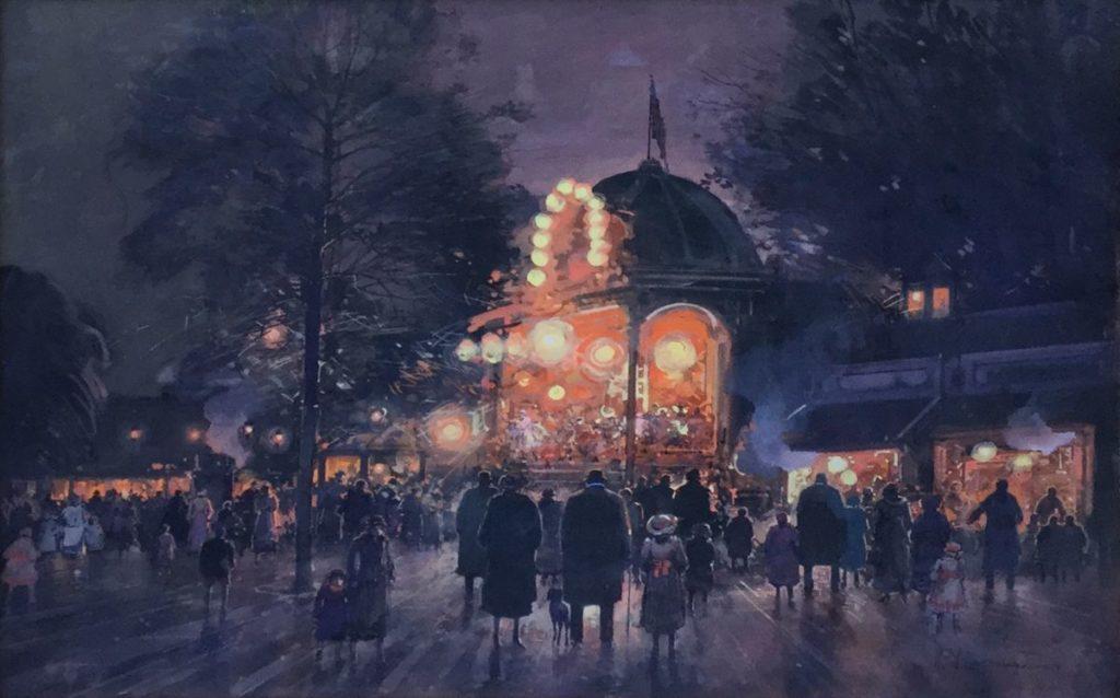 Kunst te koop bij Galerie Wijdemeren door kunstschilder Paul Renard Parijs bij avond aquarel, 43 x 60 cm rechtsonder gesigneerd