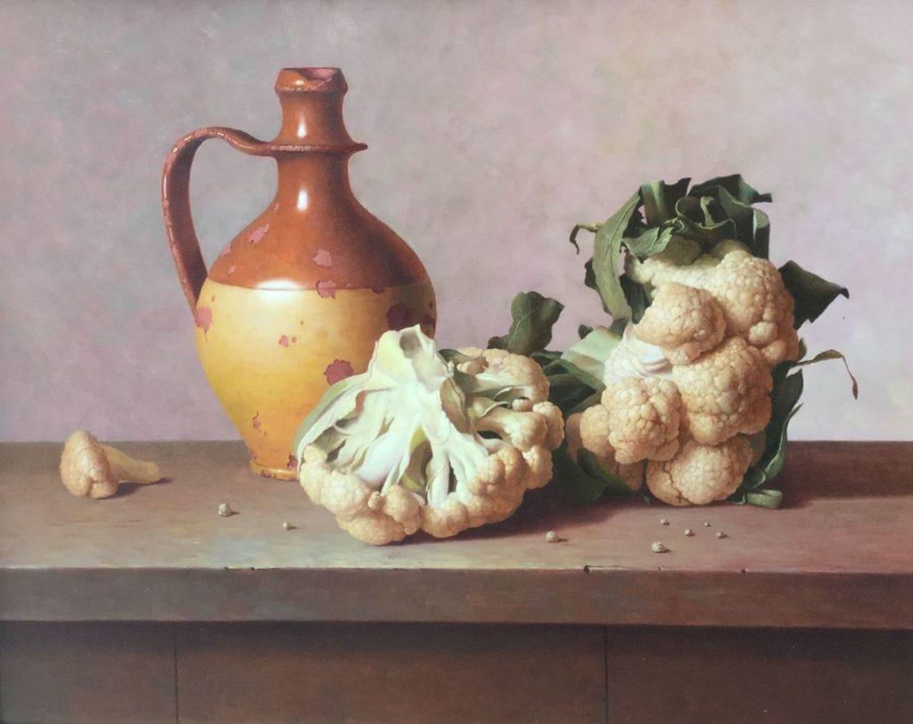 Kunst te koop bij Galerie Wijdemeren, Gyula Bubarnik Stilleven met bloemkolen olie op multiplex, 40 x 50 cm rechtsonder gesigneerd