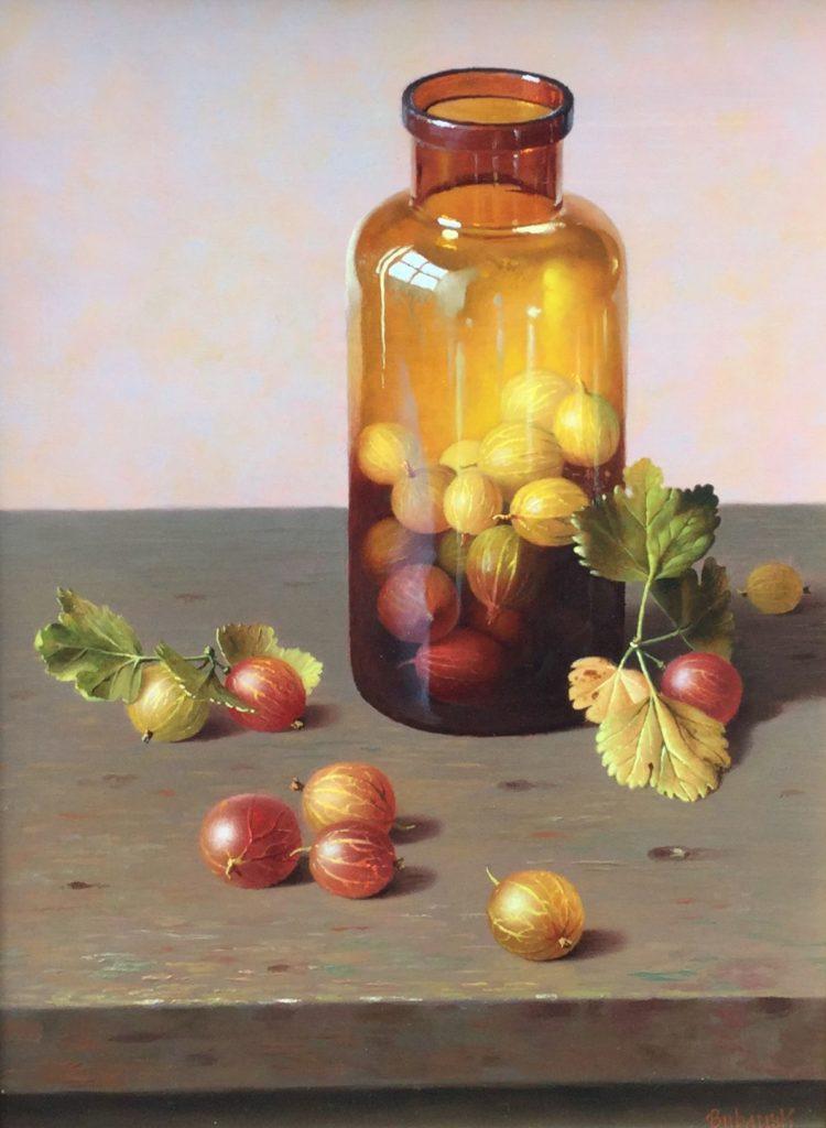 Kunst te koop bij Galerie Wijdemeren te Breukeleveen, Gyula Bubarnik Stilleven met kruisbessen en fles olie op multiplex, 25 x 30 cm rechtsonder gesigneerd