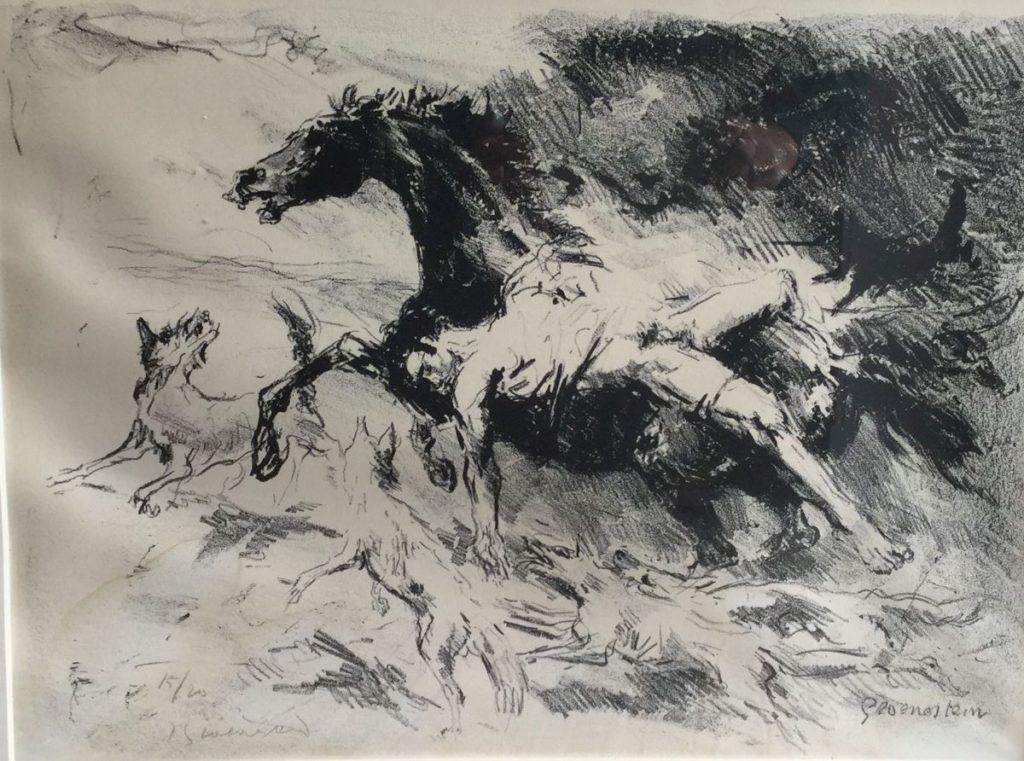 Kunstenaar Jan Groenestein C4889-1 Jan Groenestein Wolvenaanval litho, beeldmaat 36.5 x 49 cm linksonder gesigneerd, oplage 15/20