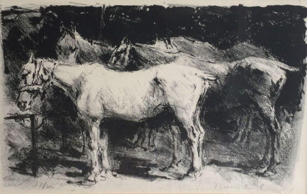 Schilderijen te koop, kunstschilder Jan Groenestein Paarden in een stal litho, oplage 12/20, beeldmaat 29 x 46.5 cm rechtsonder gesigneerd en gedateerd 58, expositie Galerie Wijdemeren Breukeleveen