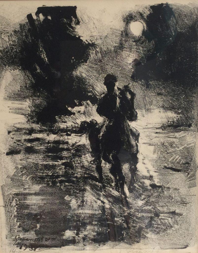 Schilderijen te koop bij Galerie Wijdemeren, Groenestein Paardrijden litho, oplage 16/20, 33 x 41 cm rechtsonder handgesigneerd, gedateerd 1958