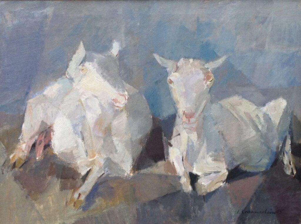 Kunstenaar Jan Groenestein C488W, J.M. Groenestein Geiten olie op doek, 60 x 80 cm r.o. gesigneerd particuliere collectie