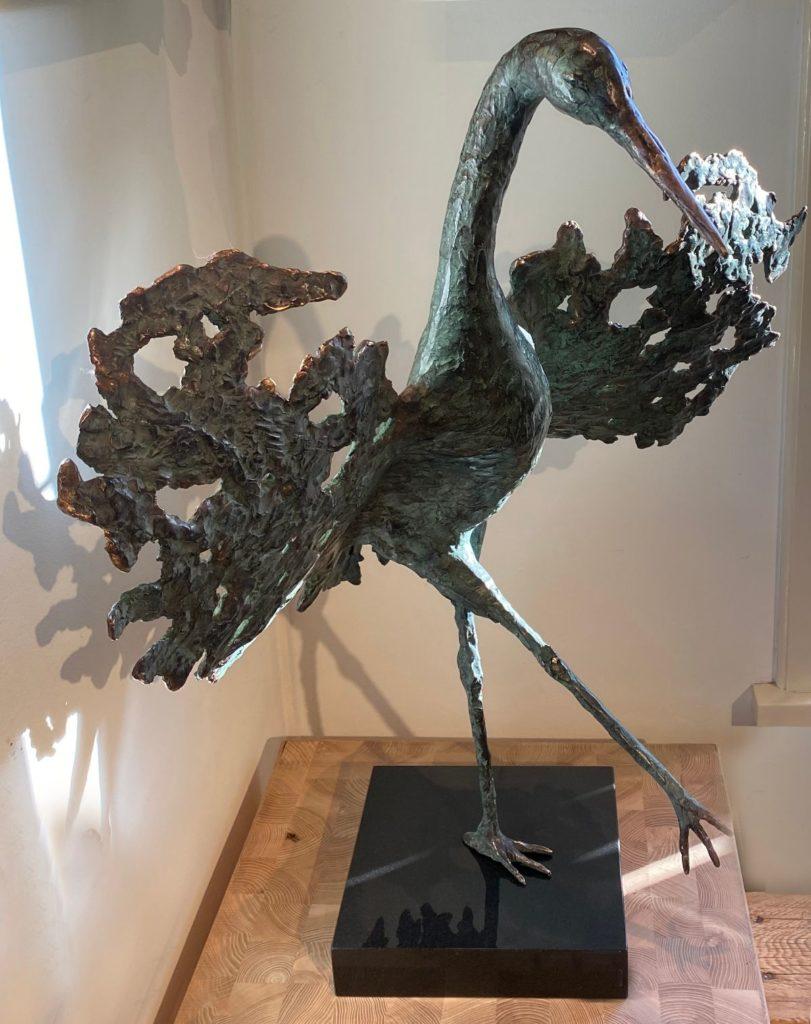 Kunst te koop van Marjolijn Dijkhuis Kraanvogel brons, oplage 2 /12, hoogte ca. 80 cm