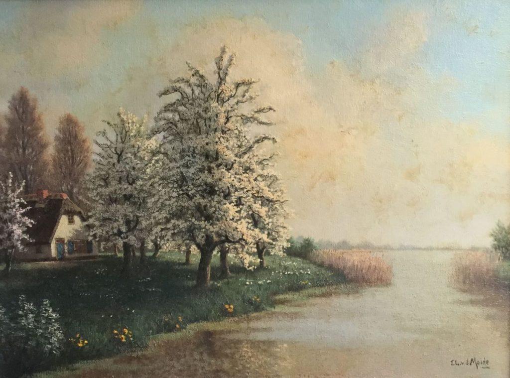 Kunst te koop bij Galerie Wijdemeren, J.L. van der Meide Plasgezicht met bloesembomen olie op doek, 60 x 80 cm rechtsonder gesigneerd