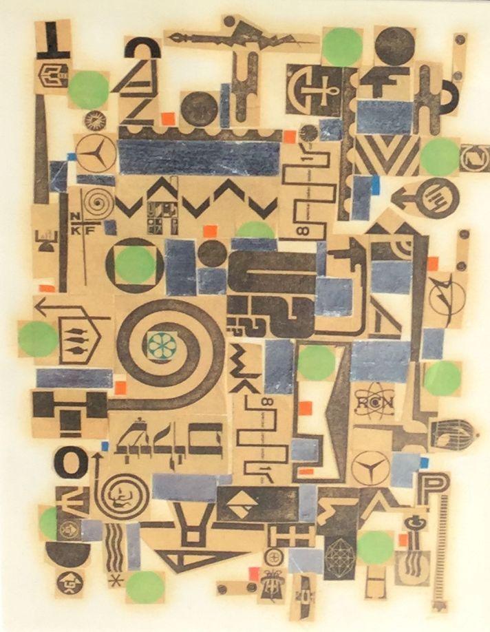 Kunst te koop bij Galerie Wijdemeren van Ger Langeweg abstracte voorstelling gemengde techniek, 33.5 x 25 cm linksonder voorzien van atelierstempel