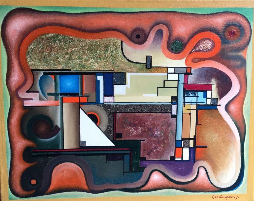 Schilderijen te koop bij Galerie Wijdemeren door kunstschilder Ger Langeweg abstracte voorstelling gemengde techniek, 48.5 x 60 cm rechtsonder gesigneerd