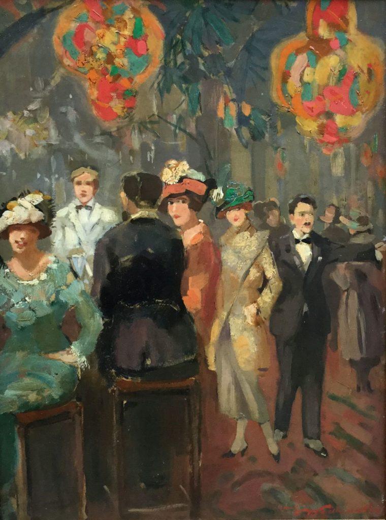 Schilderijen te koop, Dames in het café olie op karton, boardmaat 40.5 x 30.5 cm rechtsonder gesigneerd, Expositie Galerie Wijdemeren Breukeleveen