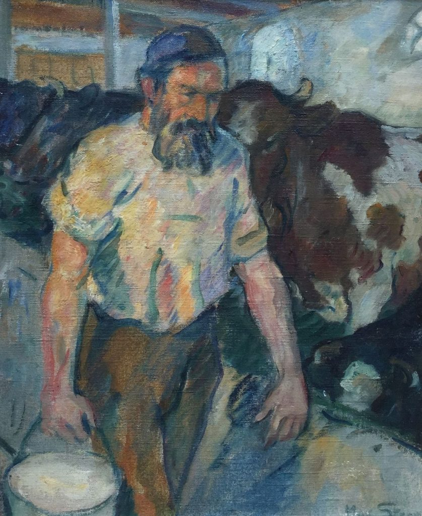 Schilderijen te koop van kunstschilder Max Stern Boer tijdens het koeienmelken olie op doek, doekmaat 45.5 x 38 cm rechtsonder gesigneerd, Expositie Galerie Wijdemeren Breukeleveen