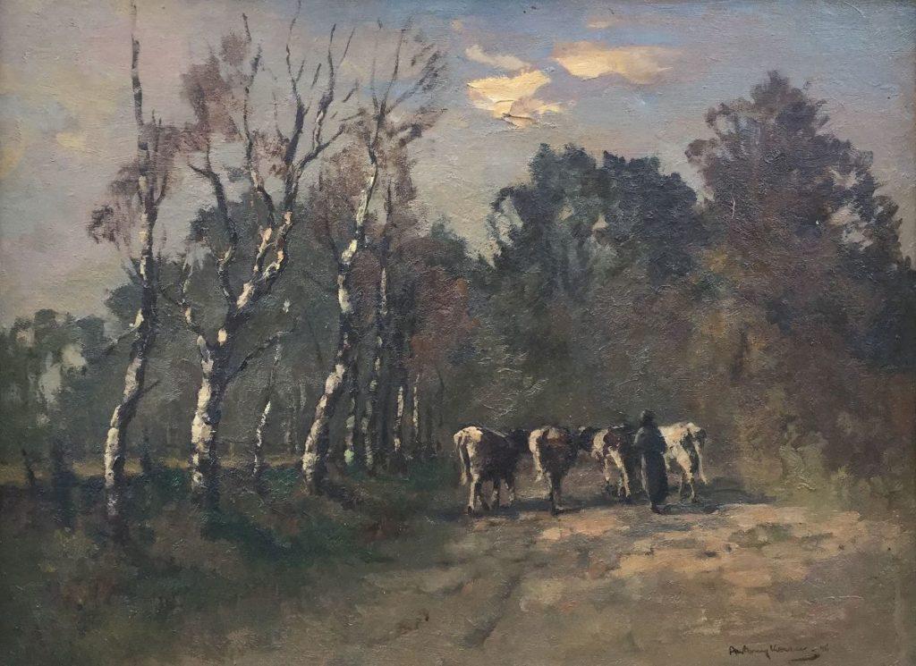 Schilderijen te koop van kunstschilder Anthony Keizer Landschap met koeien op boerenpad olie op doek, doekmaat 61 x 81 cm rechtsonder gesigneerd en gedateerd 46, Expositie Galerie Wijdemeren Breukeleveen
