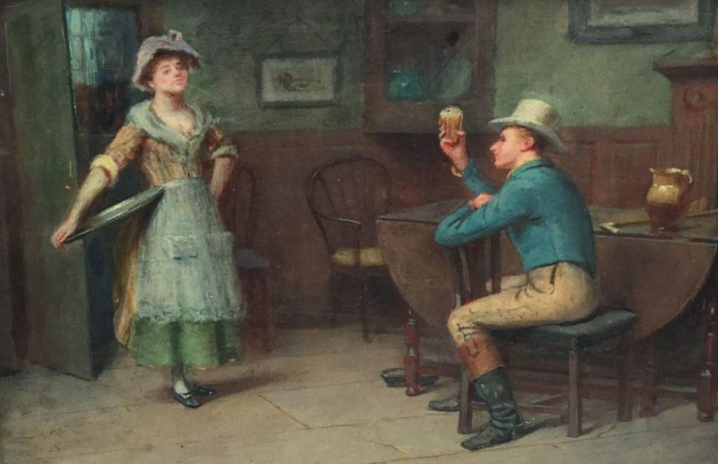 Schilderijen te koop van kunstschilder Henry Childe Pocock In het café olie op paneel, paneelmaat 17.5 x 25.5 cm linksonder gesigneerd Childe Pocock RBA (Royal Society of British Artists), Expositie Galerie Wijdemeren Breukeleveen
