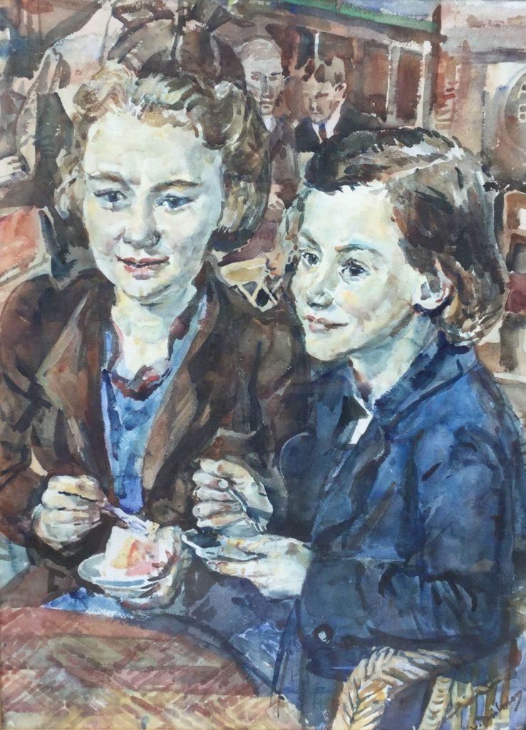 Schilderijen te koop van kunstschilderBernard van Dulmen-Krumpelman Meisjes in de ijssalon aquarel op papier, beeldmaat 74.5 x 55 cm rechtsonder gesigneerd, Expositie Galerie Wijdemeren Breukeleveen