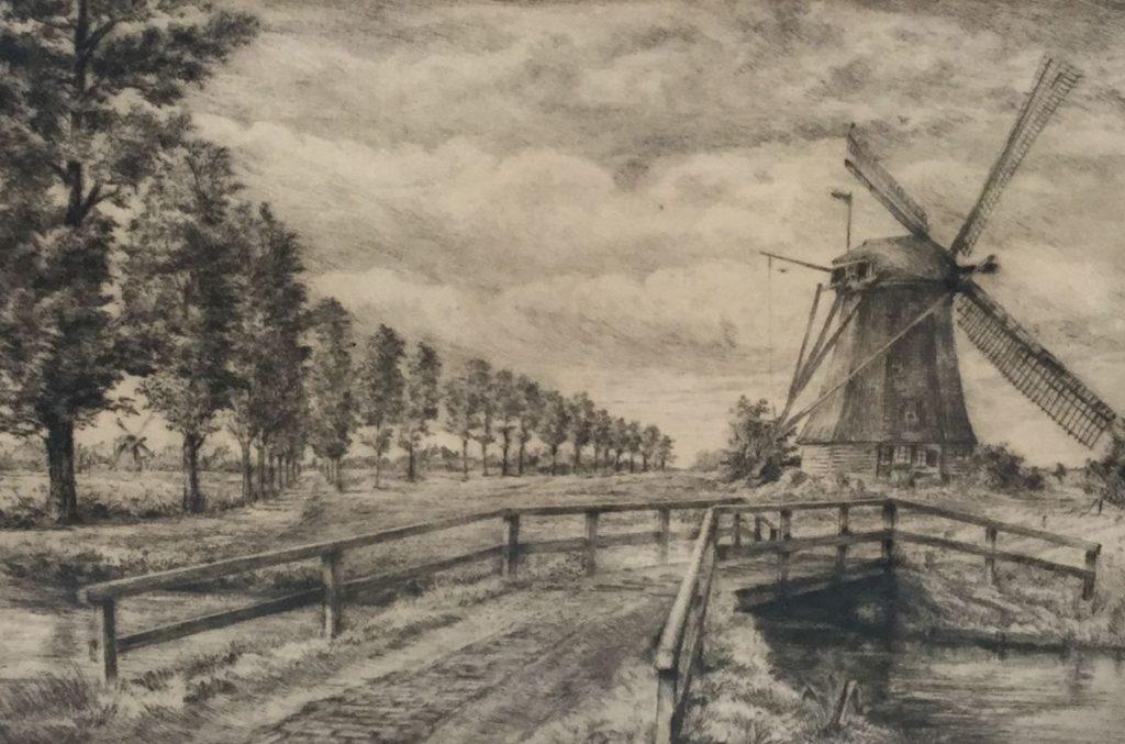 Kunst te koop bij Galerie Wijdemeren, Frans IJserinkhuijsen Molenbrug Holland ets, beeldmaat 19.5 x 28.5 cm rechtsonder gesigneerd, gedateerd 24