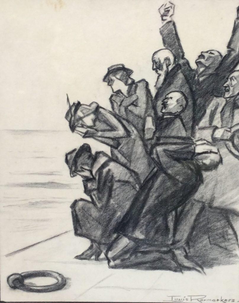 Kunst te koop bij Galerie Wijdemeren, Louis Raemaekers Het verdriet krijt op papier, 35 x 29 cm rechtsonder gesigneerd