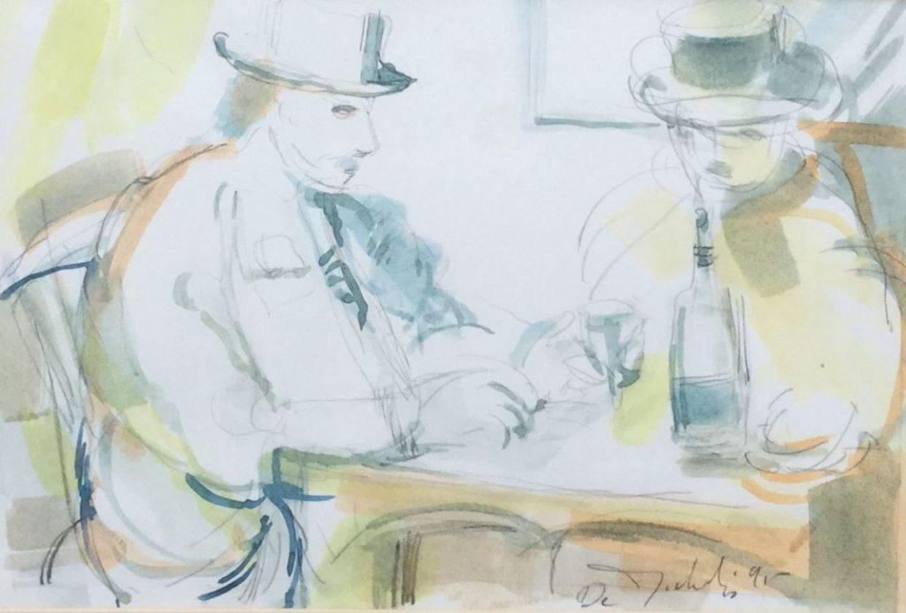 Schilderijen te koop van kunstschilder Marc de Michelis Le Rencontre (De Ontmoeting) aquarel (en potlood) op papier, beeldmaat 20.5 x 31 cm rechtsonder gesigneerd en gedateerd 95, Expositie Galerie Wijdemeren Breukeleveen