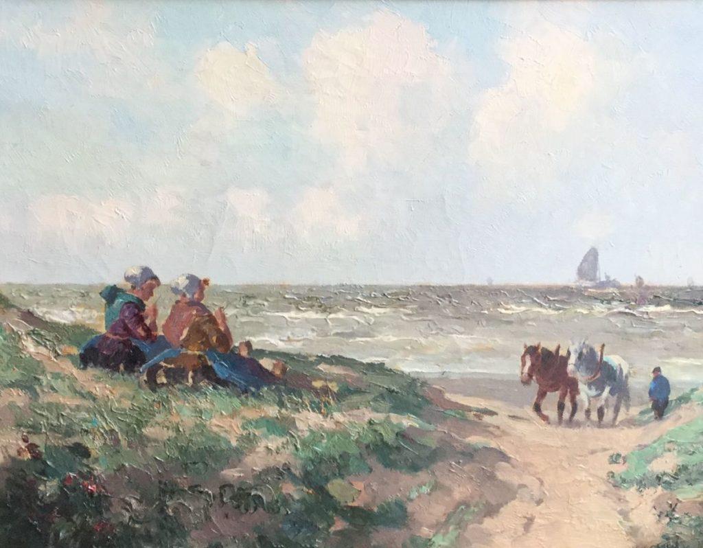 Schilderijen te koop van kunstschilder G.J. Delfgaauw onder pseudoniem H. van Gessel meisjes in de duinen olie op doek, doekmaat 35,5 x 45 cm rechtsonder H. v. Gessel gesigneerd, Expositie Galerie Wijdemeren Breukeleveen