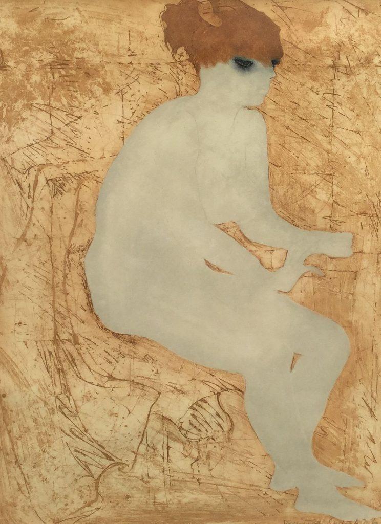 Schilderijen te koop naaktportret dame litho, beeldmaat 75 x 55 cm, opl. 4/20 gesigneerd r.o. Krystyna Smiechowska, Expositie Galerie Wijdemeren Breukeleveen