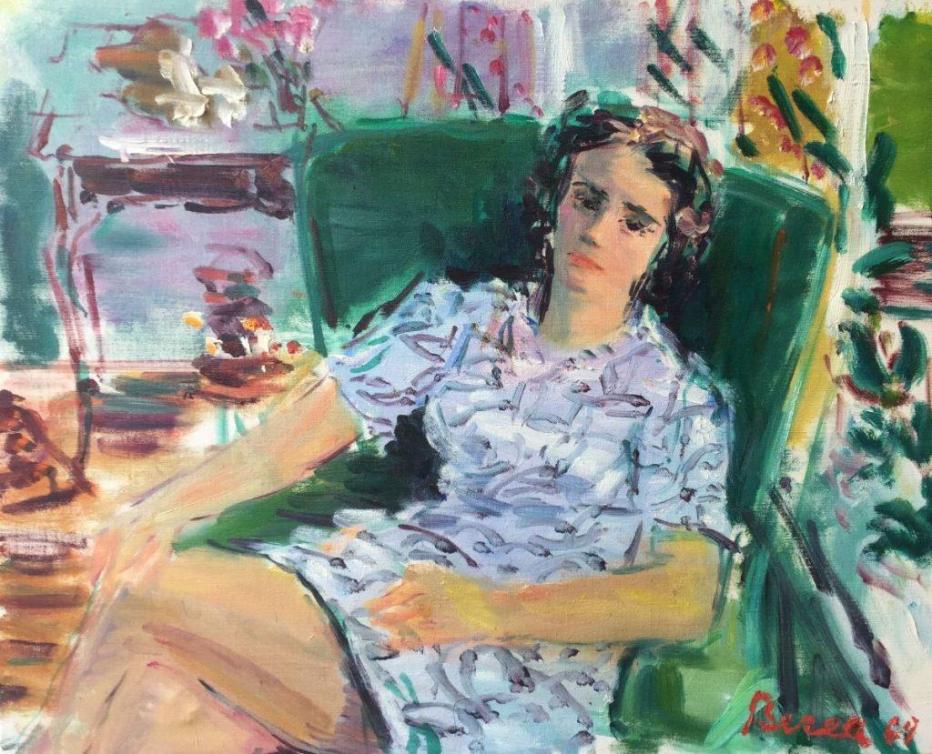 Schilderijen te koop van Dimitrie Berea, Vrouw op groene stoel olie op doek, doekmaat 81 x 73 rechtsonder gesigneerd, gedateerd 68, Expositie Galerie Wijdemeren Breukeleveen