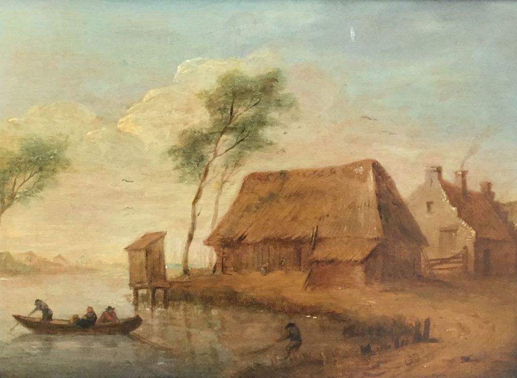 Schilderijen te koop Romantische voorstelling met vissersmannen bij boerderij olie op paneel, paneelmaat 19 x 25 cm, Expositie Galerie Wijdemeren Breukeleveen