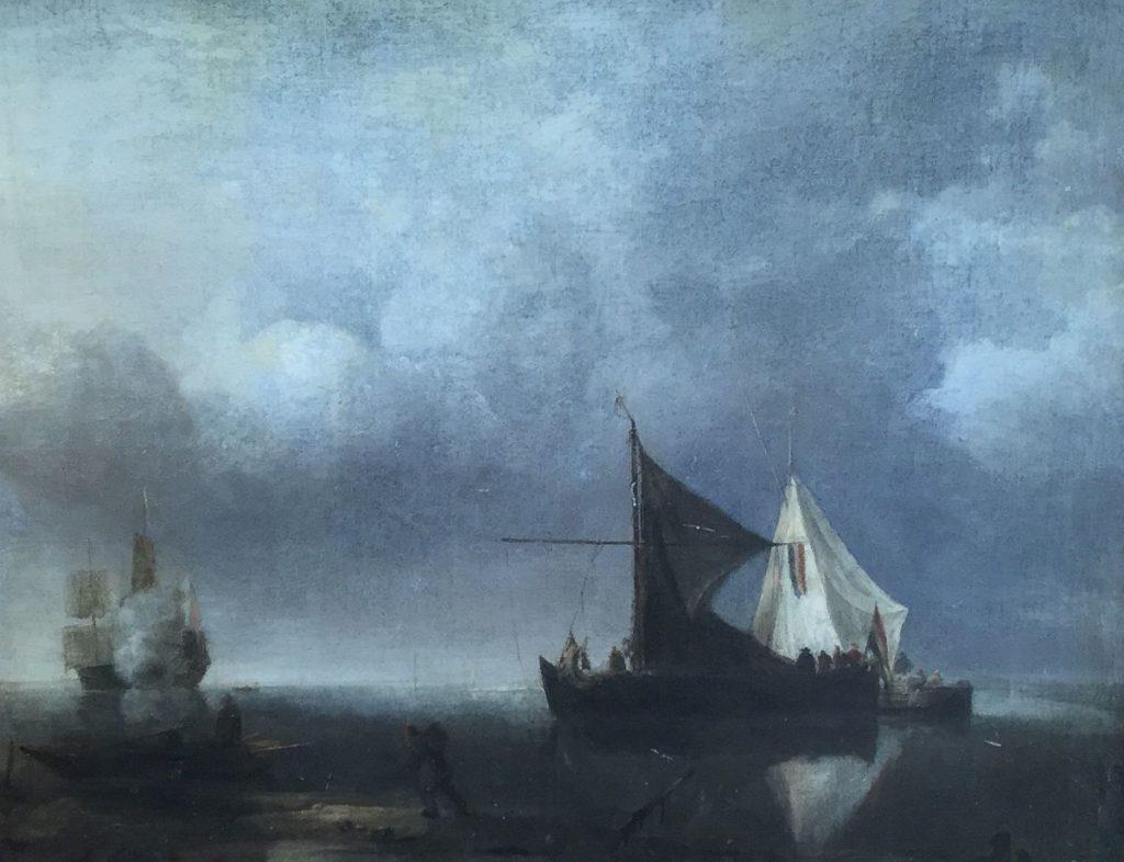 Schilderijen te koop Romantische school marinestuk olie op doek, doekmaat 38,5 x 47 cm, Expositie Galerie Wijdemeren Breukeleveen